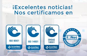 Hemos obtenido las certificaciones ISO 9001, ISO 14001 y OHSAS 18001
