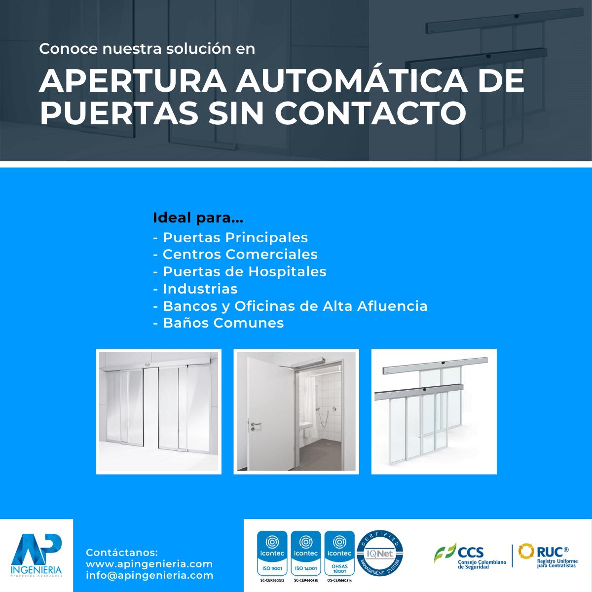 Apertura Automática de Puertas sin Contacto | AP Ingeniería